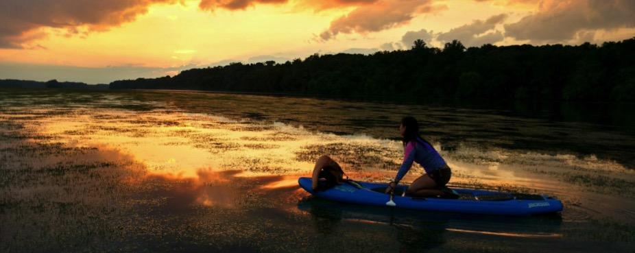 Cyndi in the Kayak at Sunset
